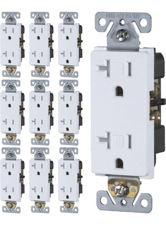 [10-Pack] 20 Amp Tamper-Resistant Outlet   20A 125V