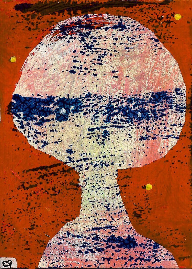 Dont Make Me Laugh He Said... E9Art ACEO Dark Humor Outsider Art Abstract Figure - $29.95