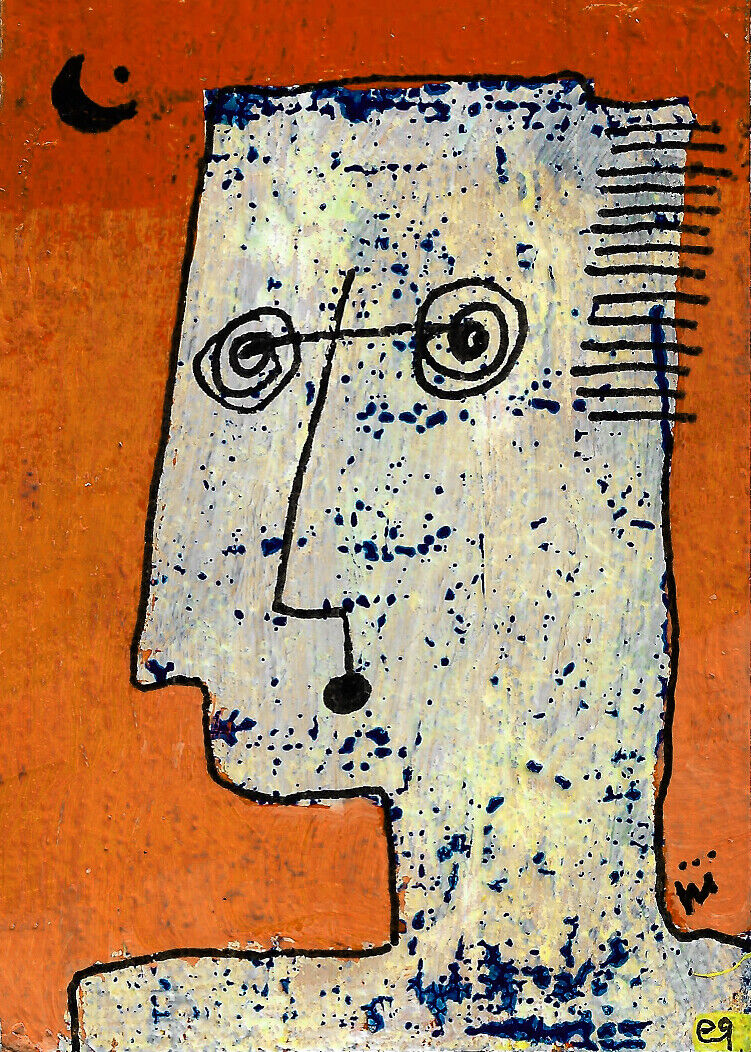 He Knew Soon As He Found... E9Art ACEO Outsider Art Hair Midlife Crisis Abstract - $29.95