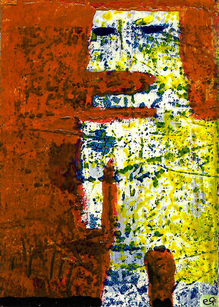 We Cant All Be Comedians Some Of Us Gots To... E9Art ACEO Outsider Art Abstract - $2.95