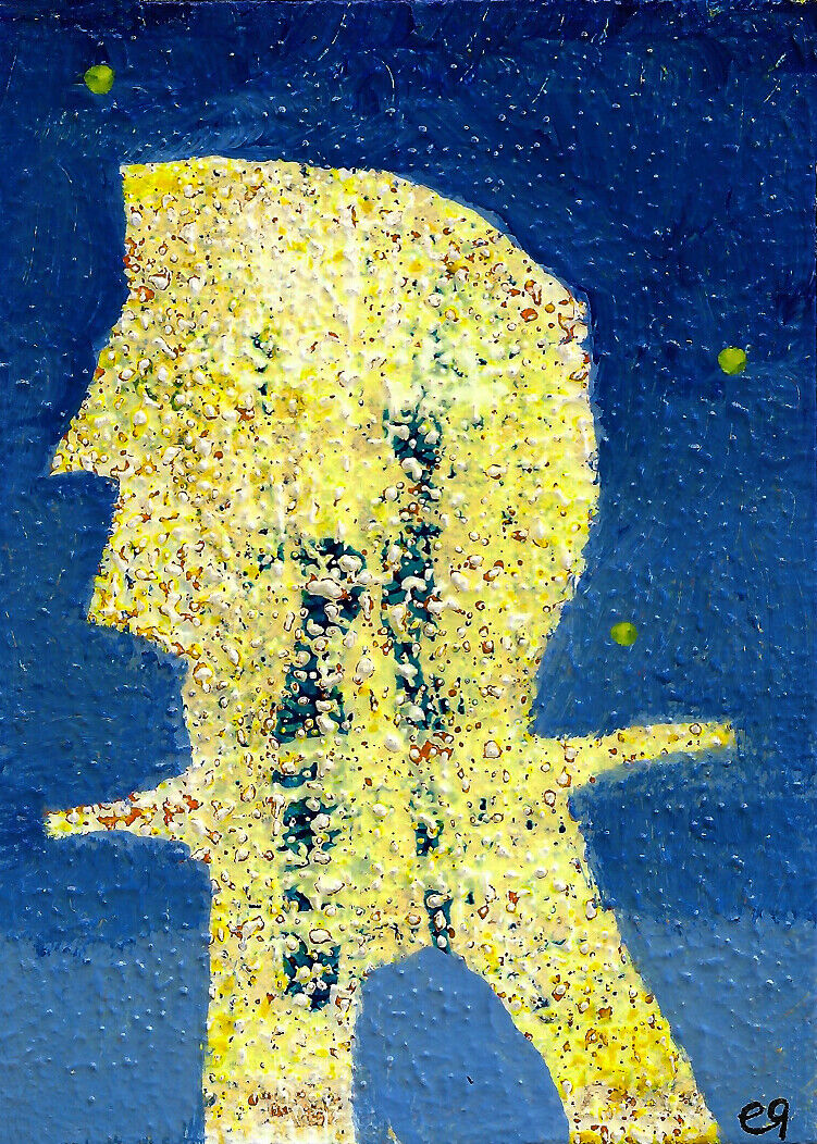 The Silence Of God Is God E9Art ACEO Quote Faith Poetry Poem Outsider Art Naive - $29.95