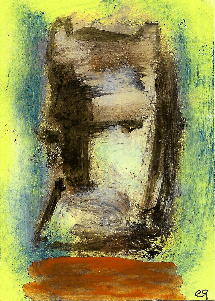 Once Upon A Time... E9Art ACEO Outsider Art Abstract Figurative Naive Brut Paint - $2.25