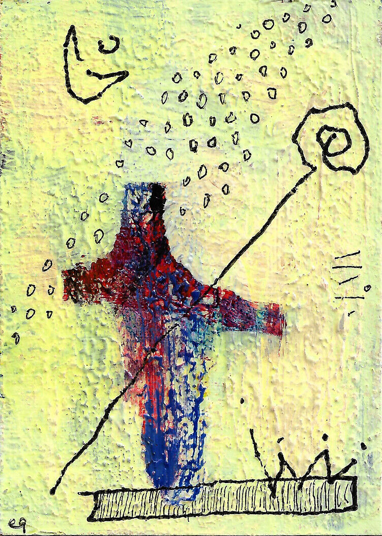 To Fly You Need Only Surrender To Sky E9Art ACEO Childlike Art Outsider Abstract - $29.95