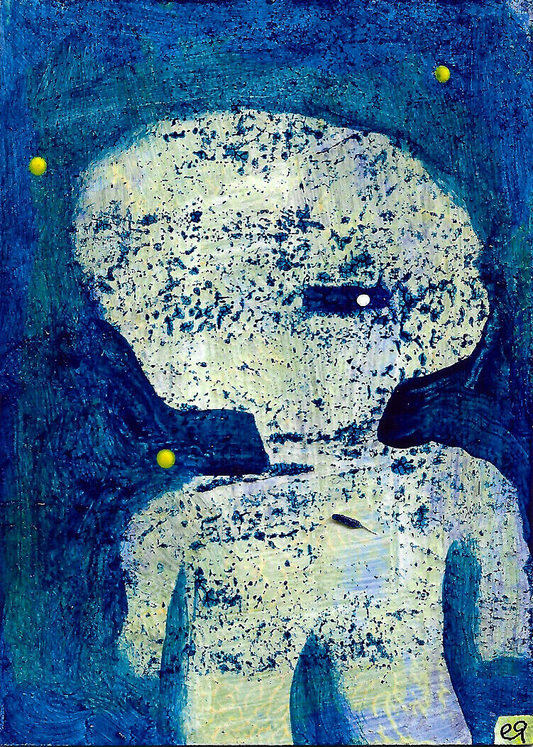 The Truth Will . . . E9Art ACEO Quote Abstract Figurative Art Outsider Painting - $29.95