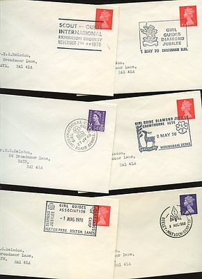 GIRL GUIDES 1968-70 SPECIAL POSTMARKS + EVENTS...6 COVERS