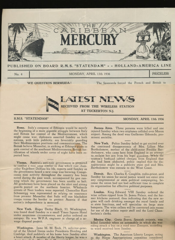 1936 RMS Statendam Lot of 12 Newsletters - Holland America Line