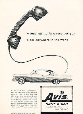 1958 Avis Rental Ford Fairlane   Vintage Advertisement Car Print Ad J483