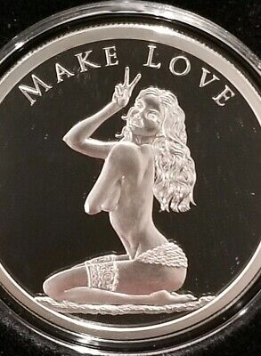 1 OZ .999 Silver Shield Proof MAKE LOVE Beautiful Naked Lady Hot Girl Hippy New!](Girl Hippies)