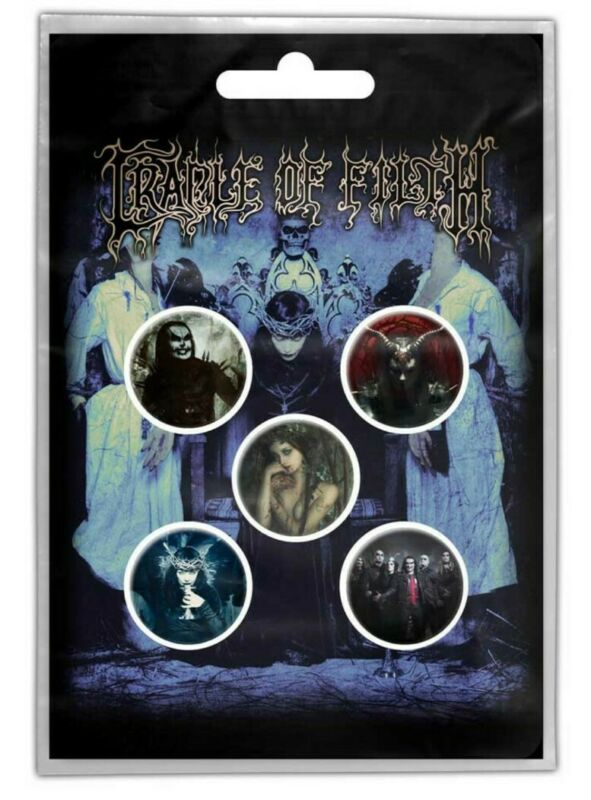 CRADLE OF FILTH - CRYPTORIANA - Official Licensed 5 BUTTON PIN BADGE PACK SET