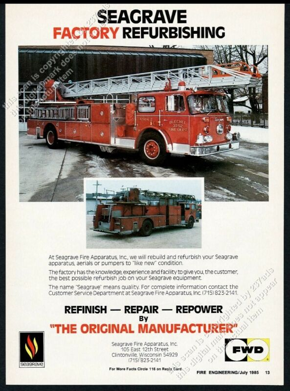 1985 Seagrave fire engine truck Buechel Kentucky FD photo vintage trade print ad