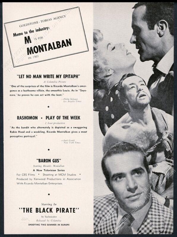 1961 Richardo Montalban 3 photo The Black Pirate movie vintage trade print ad