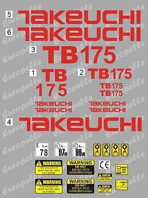Decal Sticker Set. Takeuchi Tb175 Mini Digger Pelle Bagger Excavator