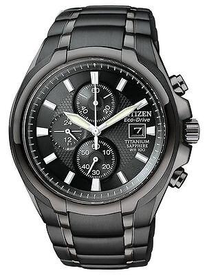 Citizen Eco-Drive Mens Black IP Titanium Chronograph Black Dial Watch CA0265-59E