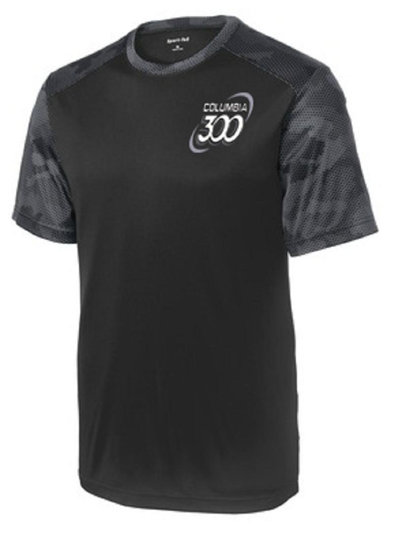 Columbia 300 Men's Camo Performance Crew Bowling Shirt Dri-fit Black Carbon