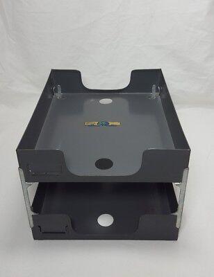 Mid Century Industrial Art Steel Steelmaster Desk Letter 2-tier Tray In Gray