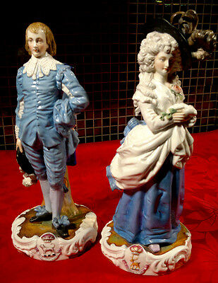 Pair Antique Sitzendorf Porcelain Gainsborough Portrait Figurines c1865~85