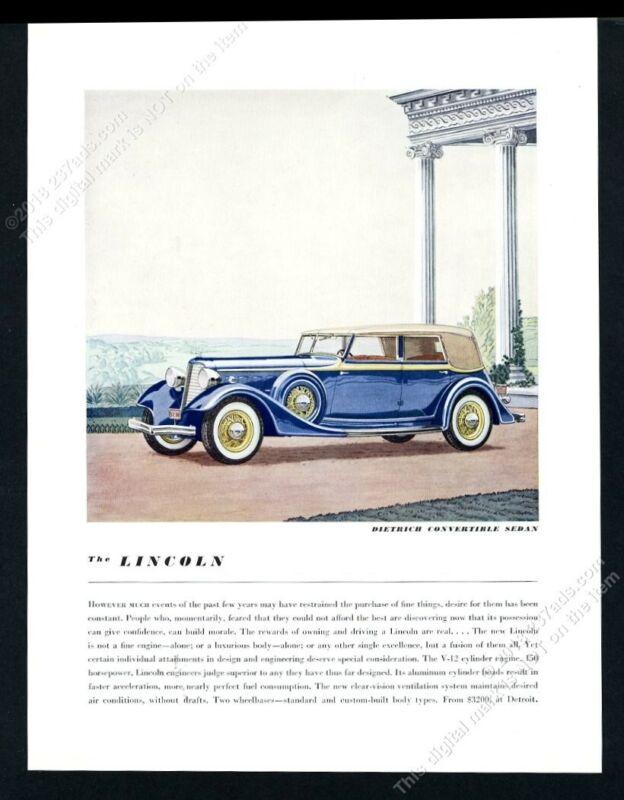 1934 Lincoln car Dietrich Convertible Sedan blue art BIG vintage print ad