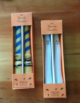 """Two Pair Spooky 10"""" Halloween Candles in Box Brooms & Ghosts"""