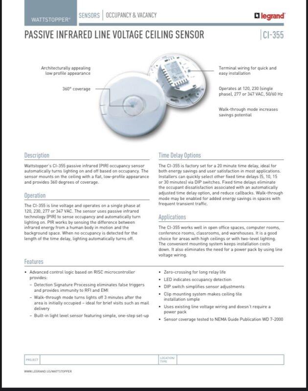 Occupancy Sensor. Line Volt PIR Ceiling Sensor. 120-277V 360° Coverage, @ 1200'