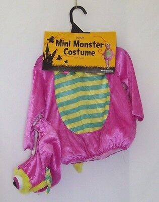 Mini Monster Halloween Costume Wiht Hood Infant  6-12 Months Pink  New