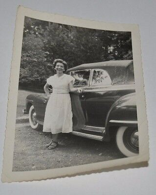 Vintage Woman & Her New Convertible Classic Car Black & White Photograph Convert Black And White Photos