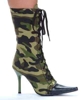 Camo Boots Army Military Sexy Heel Shoes Fancy Dress Halloween Costume Accessory