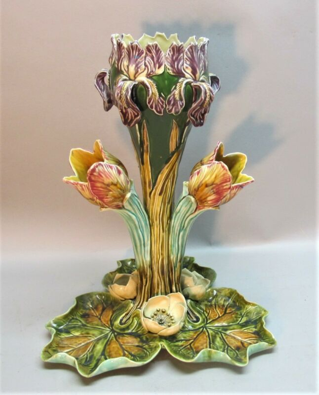 """Fine Antique FRENCH MAJOLICA CENTERPIECE  17"""" x 14""""  FRIE ONNAING  c. 1900"""