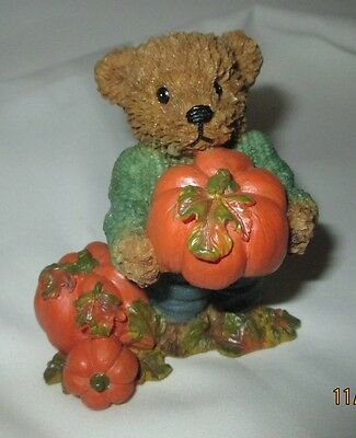 Resin Teddy Bear with Pumpkins Figurine 3.5 inch, 1999Fall Halloween