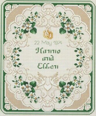 - WEDDING SAMPLER--Doves--Rings--Flowers--Heart--Counted Cross Stitch Pattern