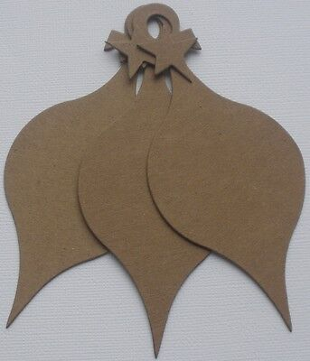 (4)  ViNTAGE LOOP TOP ORNAMENT -  Bare Unfinished Christmas Chipboard Die Cuts ()