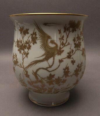 Hutschenreuther Porzellan Vase Paradiesvogel Dekor in Gold ca. 15,5 cm