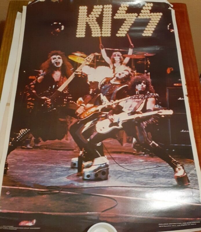 KISS VINTAGE 1975 75 ALIVE! ACE PETER GENE PAUL NOS AUCOIN MGT LIVE POSTER
