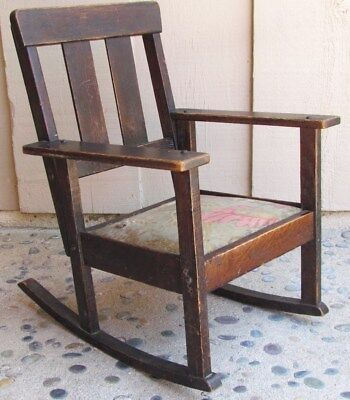 Antique Vintage Art's Craft Craftsman Child's Rocker Rocking Chair Oak Wood