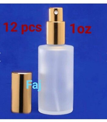 12 pcs Refillable atomizer frosted glass perfume bottle with gold spray cap. 1oz