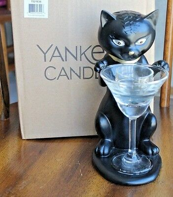 2016 Yankee Candle Halloween SOPHIA THE CAT FISHTINI Tea Light Holder NEW In Box
