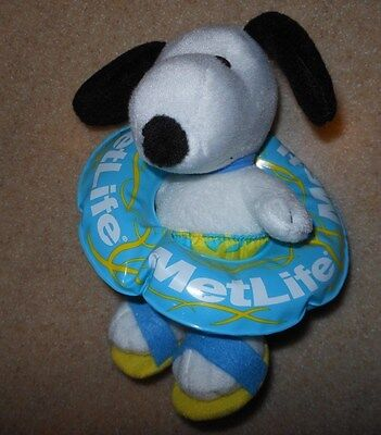 Rare Metlife Peanuts Snoopy Swimmer W  Innertube 7  Stuffed Animal Plush Toy New