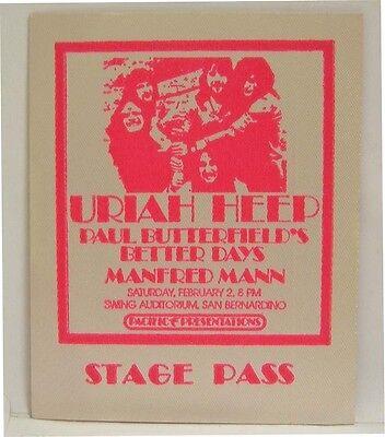 URIAH HEEP / MANFRED MANN / VINTAGE ORIGINAL REAL 1970's BACKSTAGE PASS