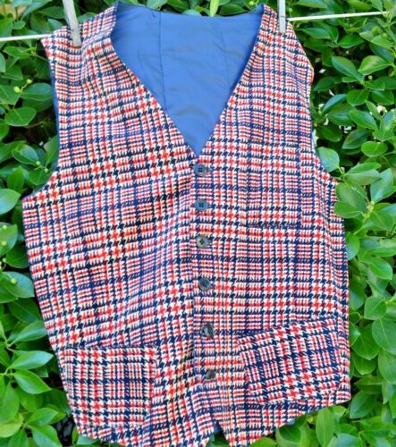 Vintage Red Blue Plaid Corduroy Button Down Vest L/XL