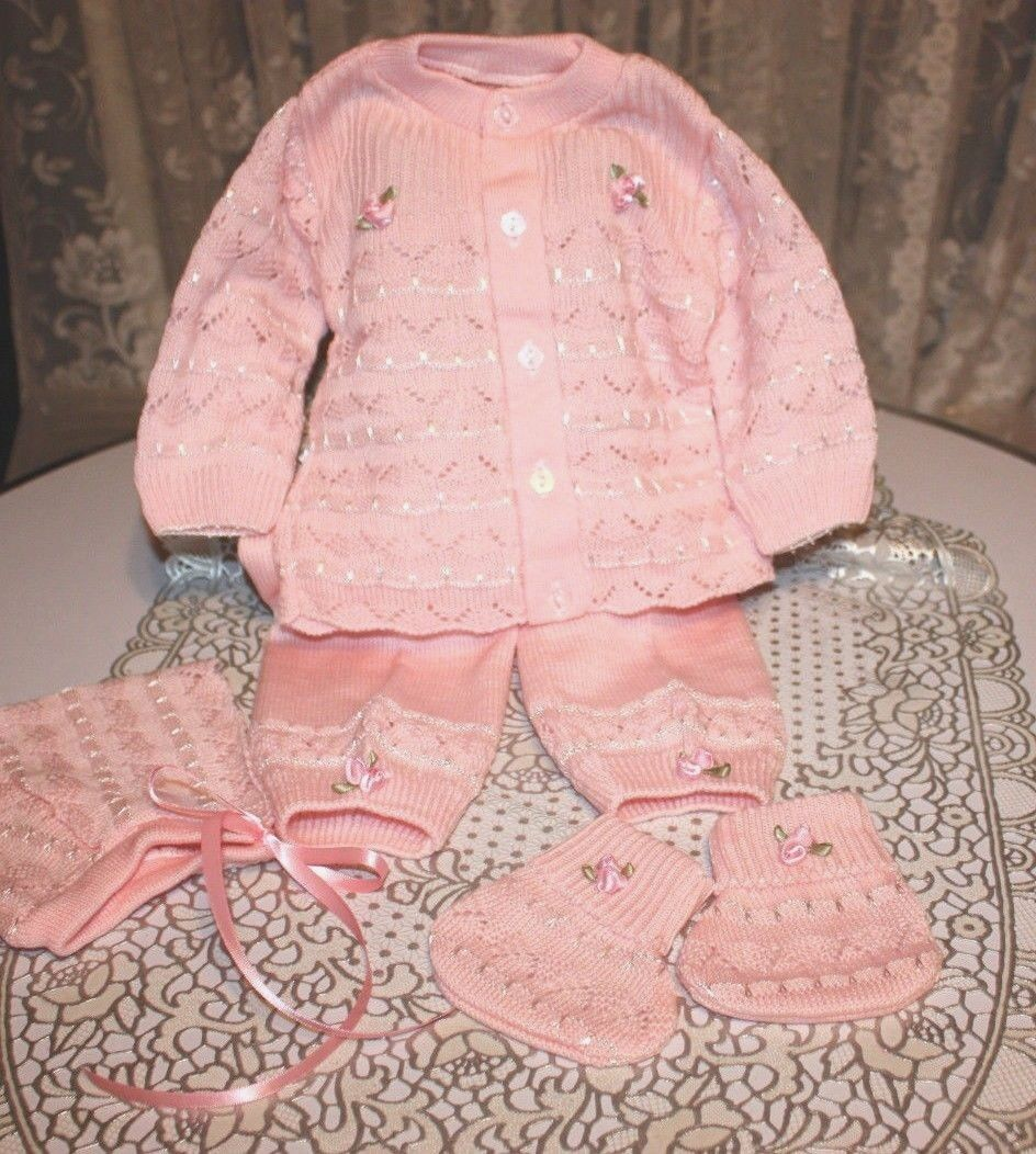 SWEET Fine Delicate Knit Baby Doll Outfit W/Rosebuds For Reborn PINK - $15.50
