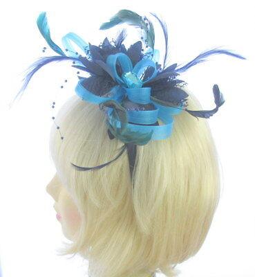 Azul y Azul Marino Bucles Tocado Diadema, Bodas, Mujer Ascot Races