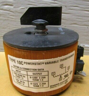 Warner Electric Type 10c Powerstat Variable Transformer