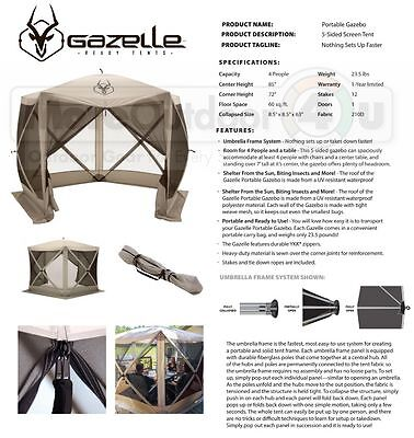 Used, 25500 Gazelle G5 RV Camping Yard Screened Canopy Party Event Gazebo Quick Set Up for sale  Cumberland