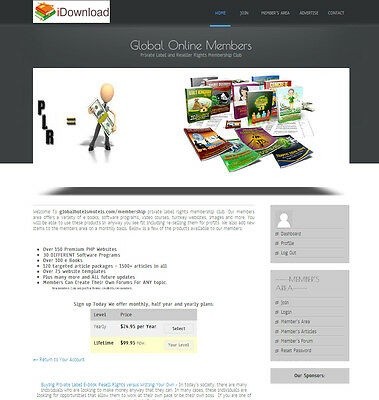 Private Label Rights Membership Club Website - Loaded