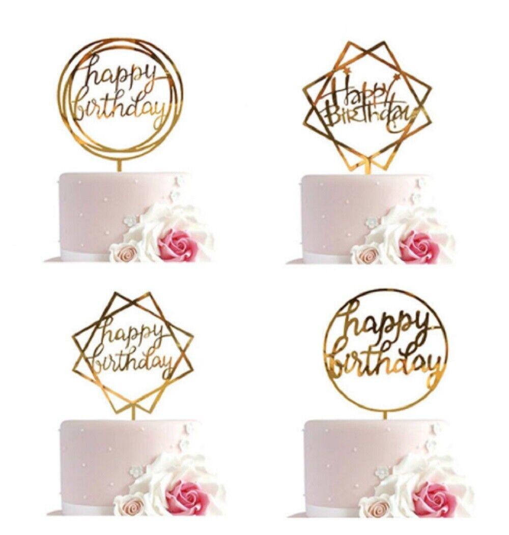 12 Pcs Glitter Paper Happy Birthday Cake Topper Cupcake Dessert Decor Supplies Cake Toppers
