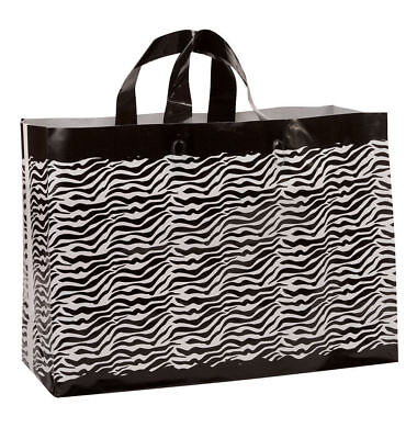 Plastic Shopping Bags 100 Zebra Print Frosted Frosty Merchandise 16 X 6 X 12
