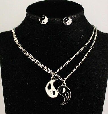 Halskette Ohrringe YingYang-Anhänger Partnerkette Freundschaftskette NEU (Freundschaft Halskette Ying Yang)