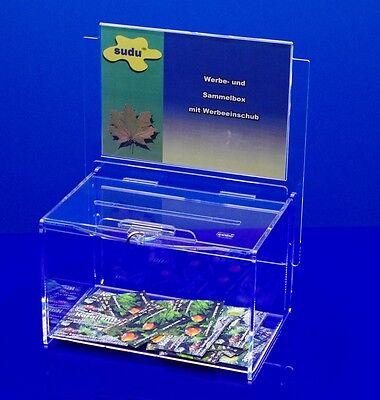 sudu® Spendenbox Aktionsbox Losbox mit Topschild A5 abschließbar, klares Acryl