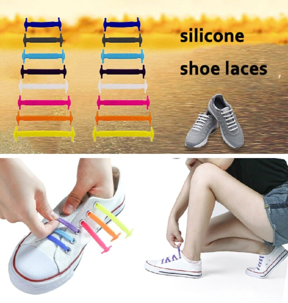 16 Pcs Unisex Lazy Shoe Laces NO Tie Silicone Elastic Sneaker Shoelaces Colorful Clothing & Shoe Care