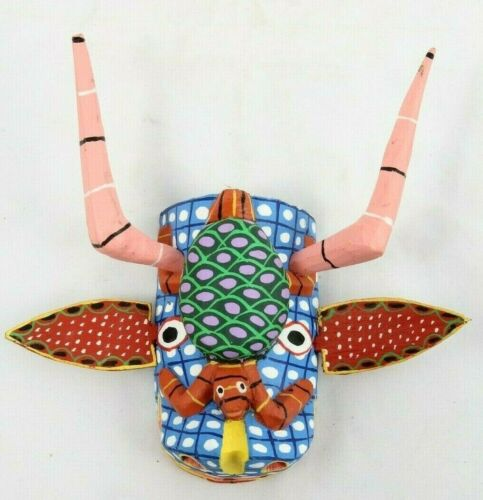 Small Wood Hanging Mask Mexican Folk Art Décor Collectible Removable Horns #2