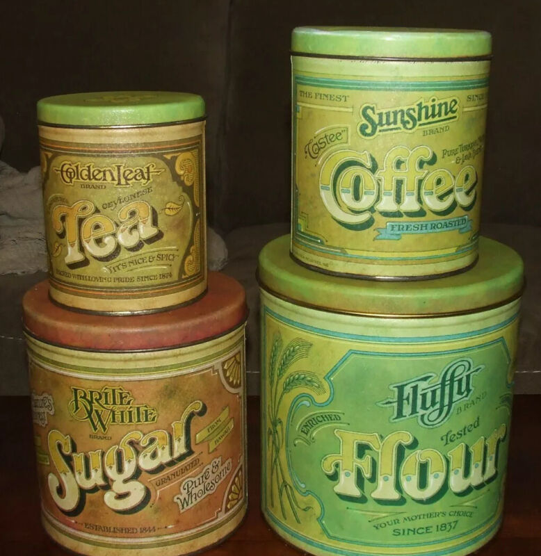 Vintage Canister Tin Set 1979 Pentron Industries Flour Sugar Coffee Tea Nesting